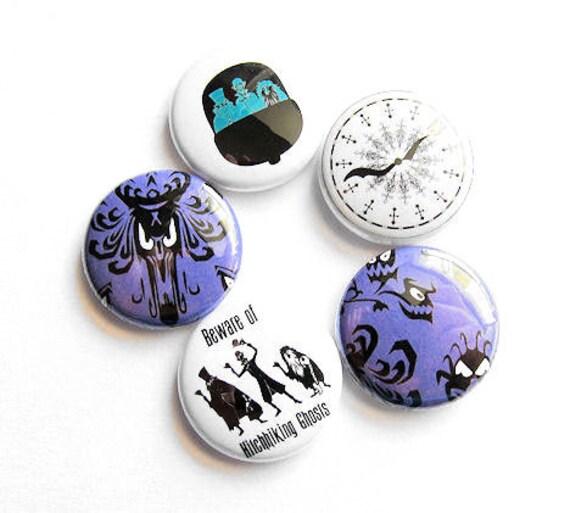 Haunted Mansion Pinback Buttons Pins Set of Five 5 Walt Disney World Disneyland Inspired