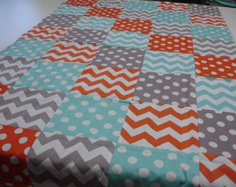 Chevrons and Dots Aqua Orange Gray Minky Blanket You Choose Size and Minky Color MADE TO ORDER No Batting
