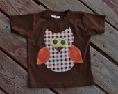 "Boys ""PUmPKIN PaTCH""  collection  OWL  tee made to order in  sizes 6-12-18-24 mth 2-3-4-5-6"