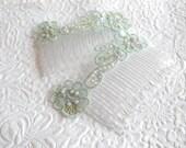 Seafoam green hair combs , floral haircombs, hair accessory, womens accessory - LAST PAIR