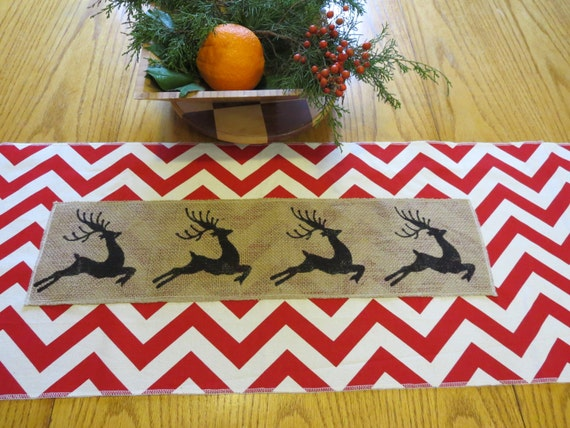 Christmas Table Runner in Chevron and Burlap Reindeer
