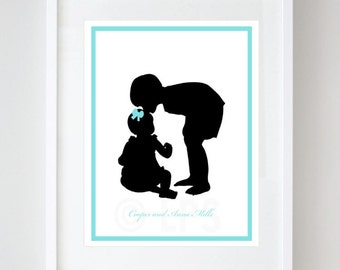 Children's Silhouette Print, Custom from your photos, Nursery Decor, Siblings Silhouette