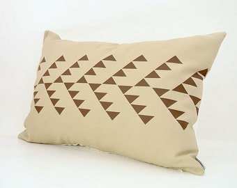 Linen lumbar pillow cover with geometric tribal pattern design -