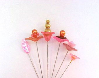 A Garden Of Stick Pins - Pink And Gold- Set of 6