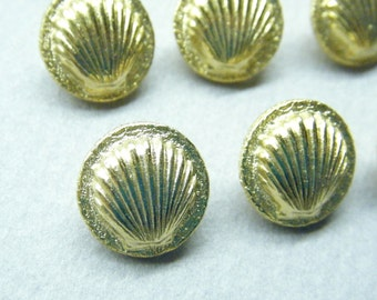 Vintage buttons, sea shell, gold metal, set of 9, goofy realistic