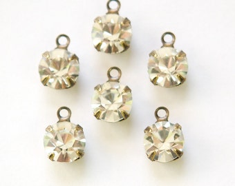 Crystal Clear Faceted Glass Stone 1 Loop Brass Ox Setting Drops rnd007M