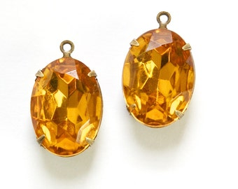Vintage Faceted Topaz Stones 1 Loop Brass Ox Setting 18x13mm ovl015XX