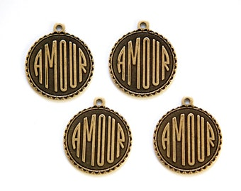 Brass Ox Amour Love  Word Charm Drop with Loop (4) chr194DD