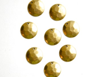 1 Hole Raw Brass Hammered Dapped Charm Drop 13mm (8) mtl425A