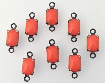 Vintage Orange Glass Octagon in 2 Loop Brass Ox Setting 7x5mm (8)  oct003C2