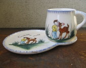 Vintage Cookies and Milk Cup and Plate - Hand Painted with Child and Deer - Very Old!