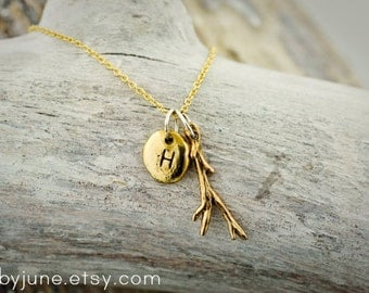 Gold Charm Necklaces | Bronze Twig and Pebble Charms on 14k Gold-fill Chain Necklace
