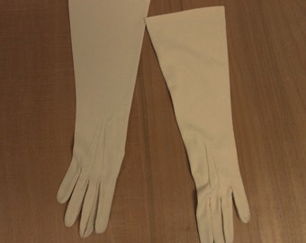 Hand Stitched Off White Vintage Elbow Gloves