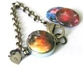 Galaxy Bracelet - Nebula, Universe, Celestial, Astronomy, Steel Jewelry, Custom Stamped Initial, Magnetic, Modern Charm Bracelet by Polarity