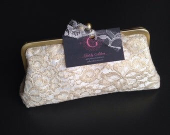 Personalized Gold and Ivory Lace Clutch for Krystle