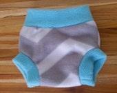 Fleece Diaper Cover Small, Soaker, Aqua and Grey Chevron