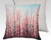 Pink cushion, pillow cover, pink flowers, blossoms, living room, housewarming gift, baby blue, home furnishing, throw pillows, square pillow