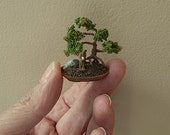 IGMA Fellow 1/12 Scale Miniature Dollhouse Bonsai Tree with Mud Figure and Boulder