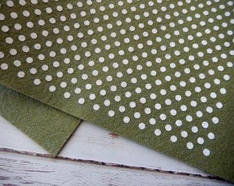 Polka Dot Wool Felt Sheets - Shady Grove with White Polka Dots - 12x18 ...
