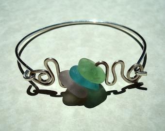 Sea Glass Bangle -Pastel Waves- Sterling Silver Bracelet