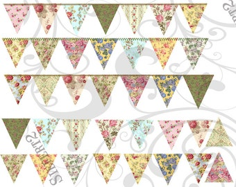 Shabby Bunting Collage Sheet 1 You Will Get a jpeg sheet as well as Png images