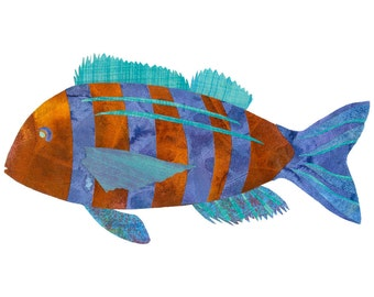 Collage Art Print - Fanciful Fish Series #1 - 8x10 or 10x13 Fish Print