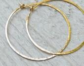 XL 14KT Gold filled Hoops - 18G Hammered Hoop Earrings, 1.5 inch Diameter