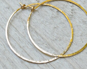 XL 14KT Gold filled Hoops - 18G Hammered Hoop Earrings, 1.5 inch Diameter
