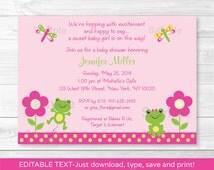 Cute  Pink Frog Baby Shower Invitation / Frog Baby Shower Invite / Dragonfly Baby Shower Invite / INSTANT DOWNLOAD Editable PDF
