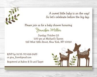 Cute Deer Baby Shower Invitation / Deer Baby Shower Invite / Woodland Baby Shower Invite / Woodland Deer / Gender Neutral / PRINTABLE A262