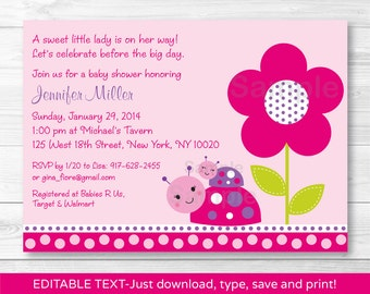 Cute Ladybug Baby Shower Invitation / Ladybug Baby Shower Invite / Pink & Purple / Baby Girl / Printable INSTANT DOWNLOAD Editable PDF