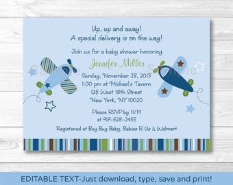 Cute Airplane Baby Shower Invitation / Airplane Baby Shower Invite / Airplane Theme / Blue & Green / INSTANT DOWNLOAD Editable PDF