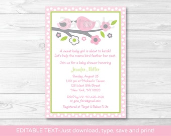Baby Bird Baby Shower Invitation INSTANT DOWNLOAD Editable PDF