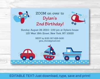 Transportation  Birthday Invitation/ Transportation Birthday Invite / Car Truck Sailboat Airplane Helicopter / INSTANT DOWNLOAD Editable PDF