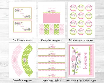 Cute Pink Bird Baby Shower Party Package / Bird Baby Shower / Bird Baby Shower Decorations / Pink & Green / Baby Girl / INSTANT DOWNLOAD