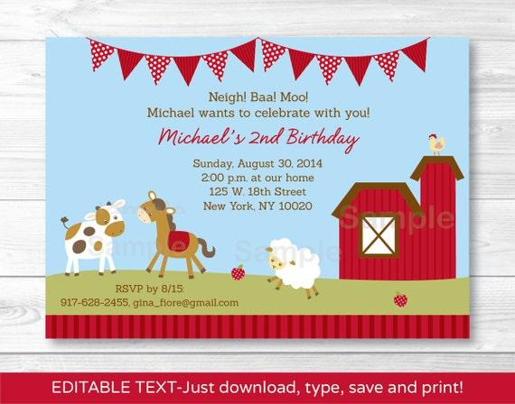 cute farm animal birthday invitation farm animal invite barnyard