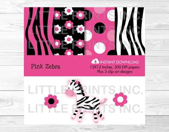Cute Pink Zebra Clipart / Digital Paper / Zebra Clipart / Zebra Pattern / Zepra Print / Hot Pink & Black / PERSONAL USE Instant Download