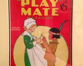 RESERVED FOR SALLY N. - Antique Fern Bisel Peat Pilgrim & Indian Children's Play Mate Magazine Cover from 1936 Matted