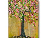 Large Wall Art, Canvas Print of a Tree, 16X20, 20X24 Canvas, Bluebirds of Happiness, Tree of Life, Cherry Blossoms, Love Birds
