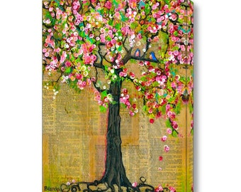 Extra Large Wall Art, Canvas Print of a Tree, Canvas, Bluebirds of Happiness, Tree of Life, Cherry Blossoms, Love Birds
