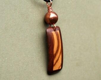 Zebra Wood and Brazilian Redwood Pendant  J131035