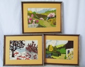 Vintage Crewel Embroidery Picture -Seasons - Choice of Winter, Spring, Summer - Framed