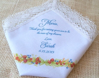 Mother of the bride lace wedding handkerchief, watercolor flowers, custom note to mother, printed handkerchief