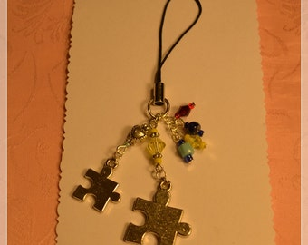 Autism Puzzle Piece, Crystal Cell Phone/iPod Charm