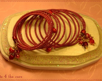 Faded Red Seed Bead Memory Wire Bracelet