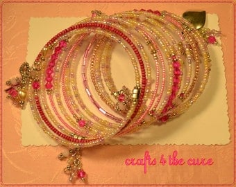 Fun Pastel Pink and Fuchsia Crystal Memory Wire Bracelet