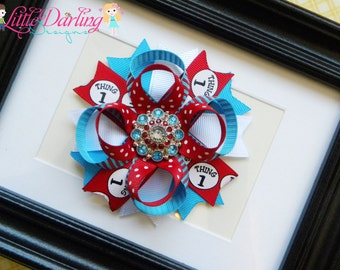 Thing 1 Thing 2 Boutique Hair Bow Rhinestone Button Center Dr. Seuss