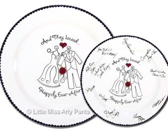Ready to Ship - Hand Painted Signature Wedding Plate - Wedding Attire Design