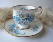 Vintage Elizabethan English Bone China Blue Floral Teacup & Saucer