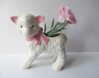 Sweet Vintage Pink and White Ceramic Lamb Planter